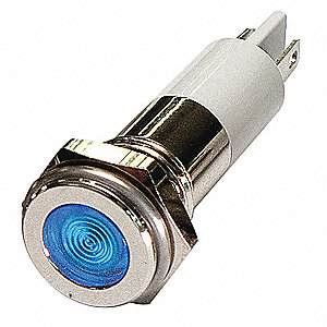 Flat Indicator Light, LED Lamp Type, 120VAC Voltage, 10mm Mounting Dia. Size