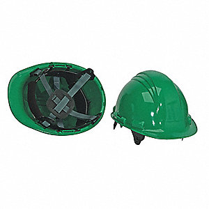 Front Brim Hard Hat, 6 pt. Pinlock Suspension, Dark Green, Hat Size: One Size Fits Most