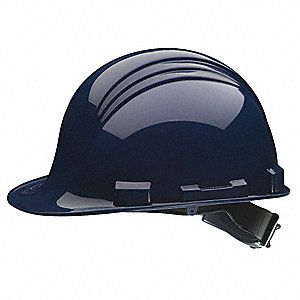 Peak Class E Front Brim Hard Hat, 6 pt. Ratchet Suspension, Navy, Hat Size: One Size Fits Most