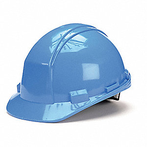 Front Brim Hard Hat, 4 pt. Ratchet Suspension, Sky Blue, Hat Size: 6-3/4 to 7-3/8