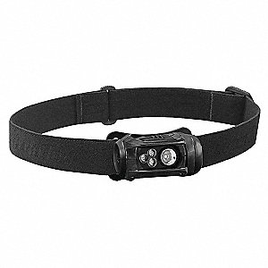 LED Headlamp, Plastic, 10,000 hr. Lamp Life, Maximum Lumens Output: 125, Black