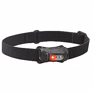 LED Headlamp, Plastic, 10,000 hr. Lamp Life, Maximum Lumens Output: 45, Black