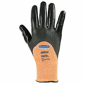 Polyurethane Cut Resistant Gloves, ANSI/ISEA Cut Level 3, Black/Orange, 2XL, PR 1