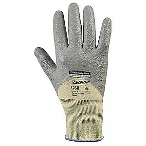 Polyurethane Cut Resistant Gloves, ANSI/ISEA Cut Level 2 Lining, Gray, Yellow, S, PR 1