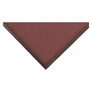 "Indoor Entrance Mat, 4 ft. L, 3 ft. W, 3/8"" Thick, Rectangle, Burgundy"