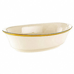 Vegetable Bowl,Ivory/Gold,8-1/2 In,PK12