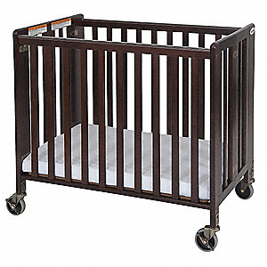 Folding Crib,Cherry,2 In Mattress