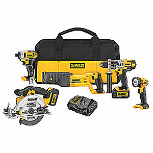 Cordless Combination Kit, 20.0 Voltage, Number of Tools 5
