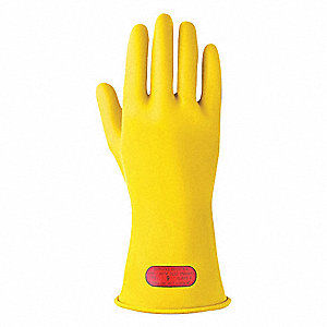 Yellow Electrical Gloves, Natural Rubber, 0 Class, Size 11