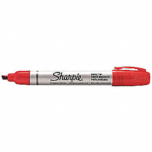 Permanent Marker,Chisel,Red,PK12