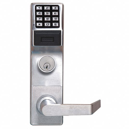 Electronic Keyless Lock, 2-3/4 in Backset, Mortise, Satin Chrome