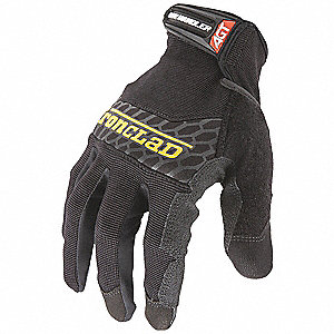 Box Handling Mechanics Gloves, Silicone Printed Synthetic Leather Palm Material, Black, L, PR 1