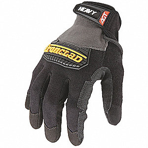Construction Mechanics Gloves, Synthetic Leather Palm Material, Black, XL, PR 1