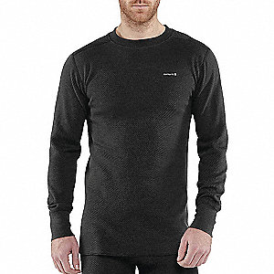 COTTON THERMAL CREW NECK TOP BLK L