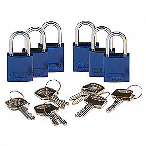 "Lockout Padlock,KD,Blue,1-7/16""H,PK6"