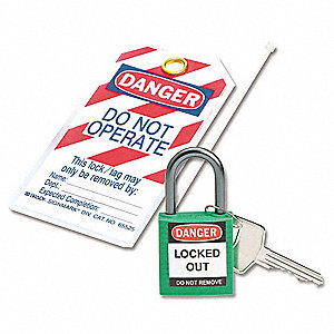 Green Lockout Padlock, Different Key Type, Master Keyed: No, Thermoplastic Body Material