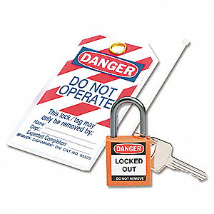 Orange Lockout Padlock, Different Key Type, Thermoplastic Body Material