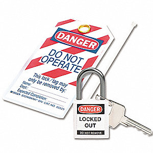 White Lockout Padlock, Different Key Type, Master Keyed: No, Thermoplastic Body Material