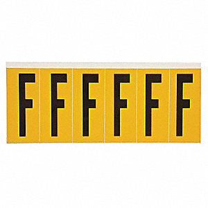 "Letter Label, F, Black/Yellow, 2-15/16"" Character Height, 1 EA"