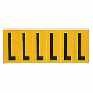 "Letter Label, L, Black/Yellow, 2-15/16"" Character Height, 1 EA"