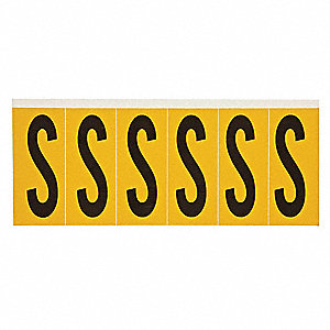 "Letter Label, S, Black/Yellow, 2-15/16"" Character Height, 1 EA"