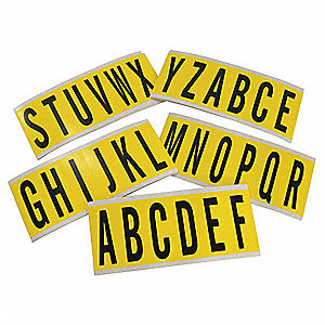 "Letter Label Kit, A Thru Z, Black/Yellow, 2-15/16"" Character Height, 1 EA"