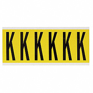 "Letter Label, K, Black/Yellow, 2-15/16"" Character Height, 1 EA"