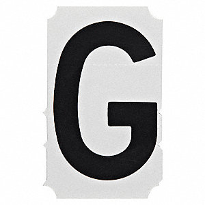"Letter Label, G, Black, 3"" Character Height, 10 PK"