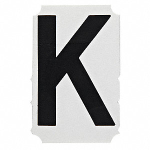 "Letter Label, K, Black, 4"" Character Height, 10 PK"