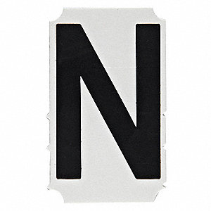 "Letter Label, N, Black, 4"" Character Height, 10 PK"