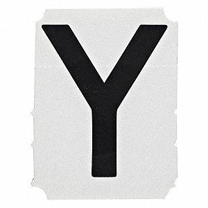 "Letter Label, Y, Black, 4"" Character Height, 10 PK"