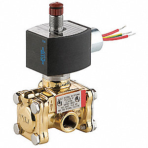 "120VAC Brass Solenoid Valve, Normally Closed, 3/8"" Pipe Size"
