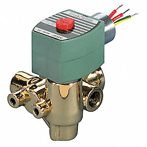 "125VDC Brass Solenoid Valve, Normally Closed, 1/4"" Pipe Size"