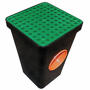 "11"" x 15-1/2"" Two Hole Drain Sump with Grate, Black"