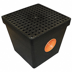 "16"" x 14-1/2"" Two Hole Drain Sump with Grate, Black"