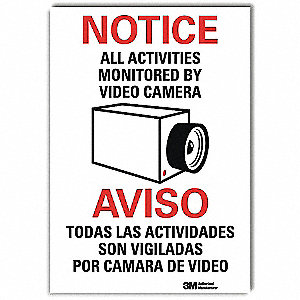 "Security and Surveillance, Notice, 14"" x 10"", Adhesive Surface, Engineer"