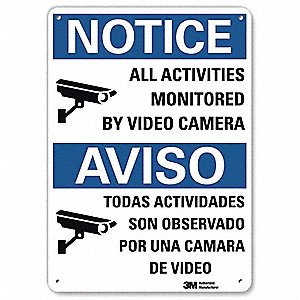 "Security and Surveillance, Notice, Aluminum, 10"" x 7"", Surface, Engineer"