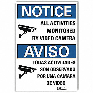 "Security and Surveillance, Notice, Vinyl, 14"" x 10"", Adhesive Surface, Engineer"