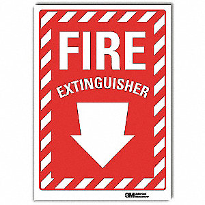 Fire Extinguisher Sign,14x10 In.