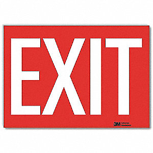 Exit Sign,10x7 In.,White/Red,English