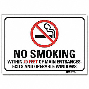 "No Smoking, No Header, Vinyl, 5"" x 7"", Adhesive Surface, Engineer"
