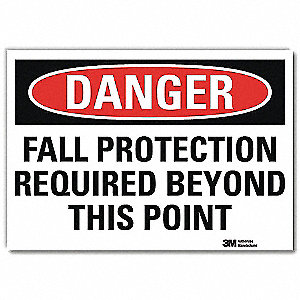 "Fall Protection, Danger, 14"" x 10"", Adhesive Surface, Engineer"