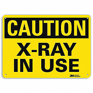 "Radiation and X-Ray, Caution, Recycled Aluminum, 10"" x 7"", With Mounting Holes, Engineer"