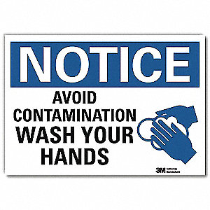 "Wash Hands, Notice, Vinyl, 7"" x 10"", Adhesive Surface, Engineer"