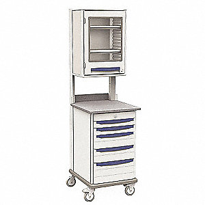 "28-5/8""D x 23-5/8""W x 81-1/2""H Polymer Drawers, Laminate Counter Mobile Work Center"