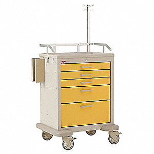 "24""D x 22-1/2""W x 38""H Steel Isolation Medical Cart"