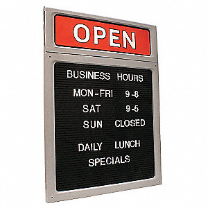 "Business Hours Sign,20-1/2"" x 15"""