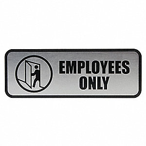 Brushed Metal Sign Employees Only
