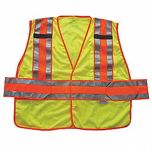 Yellow/Green with Silver/Orange Stripe Traffic Vest, ANSI 2, Hook-and-Loop Closure, M/L