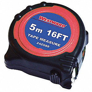 16 ft. Steel SAE Tape Measure, Black/Red